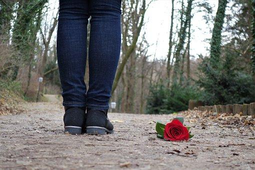 足下に落ちた赤いバラ