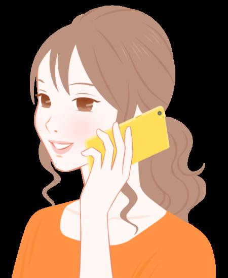 電話をかける女性のイラスト
