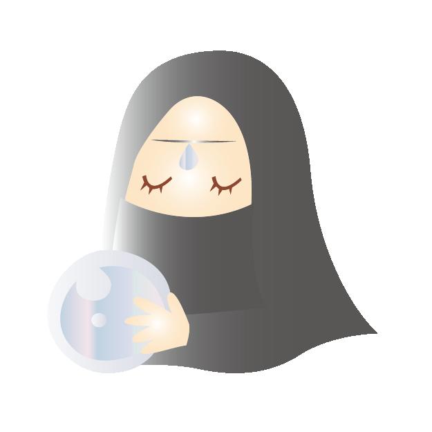 水晶玉を持った占い師のイラスト