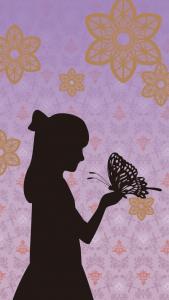 影になった少女が手に大きな蝶々を乗せているイラスト