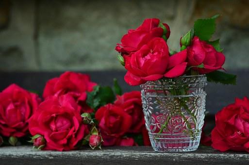 グラスと赤い薔薇