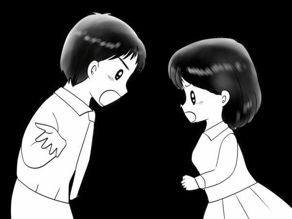 言い争う男女のイラスト