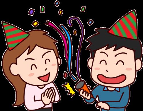 誕生日をお祝いする男女